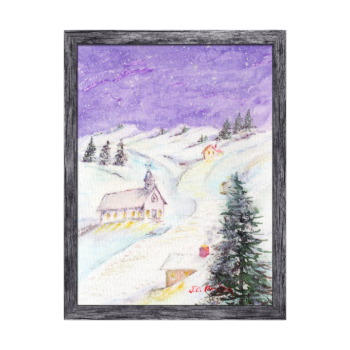 Starry Night Draped in Snow Christmas Watercolor Canvas Print