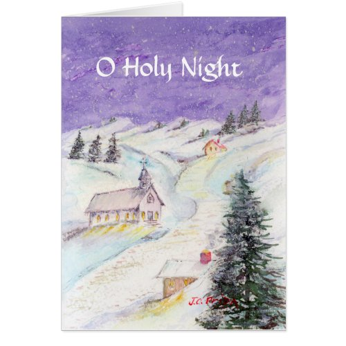 Starry Night Draped in Snow Christmas Watercolor Greeting Card