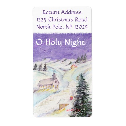 Starry Night Draped in Snow Christmas Watercolor Shipping Label