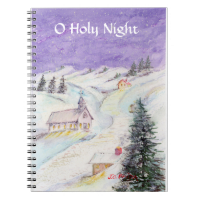Starry Night Draped in Snow Christmas Watercolor Spiral Note Book