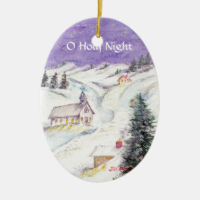 Starry Night Draped in Snow Christmas Watercolor Ornament