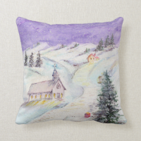 Starry Night Draped in Snow Christmas Watercolor Pillow