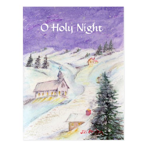 Starry Night Draped in Snow Christmas Watercolor Postcard