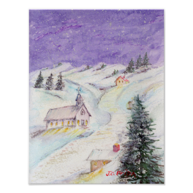 Starry Night Draped in Snow Christmas Watercolor Print