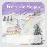Starry Night Draped in Snow Christmas Watercolor Square Sticker