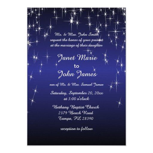 Dark Blue Wedding Invitations: Starry Night Wedding In Color