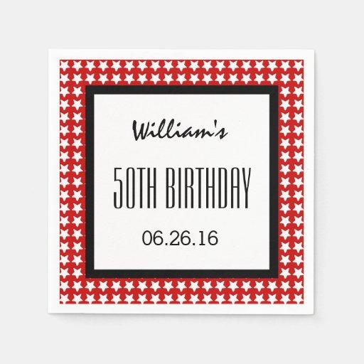 Stars 50th Birthday Custom Name E02 RED Background Napkin