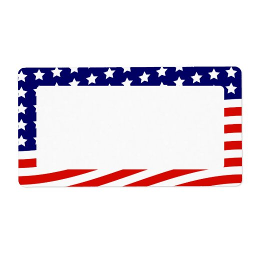 Stars And Stripes American Flag July 4th Label