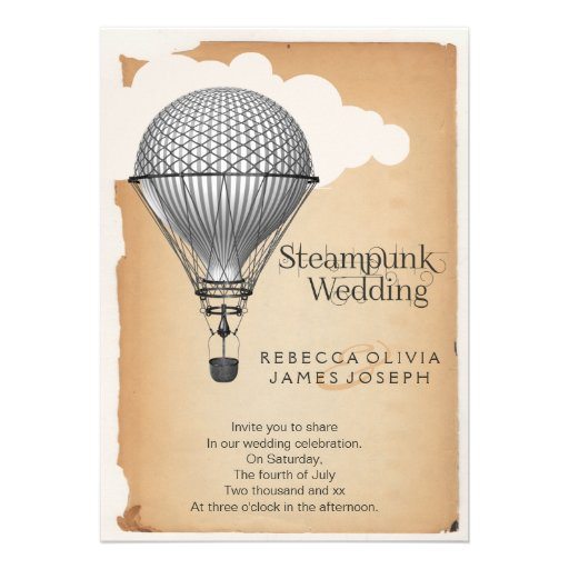 Steampunk Hot Air Balloon Wedding Invitations