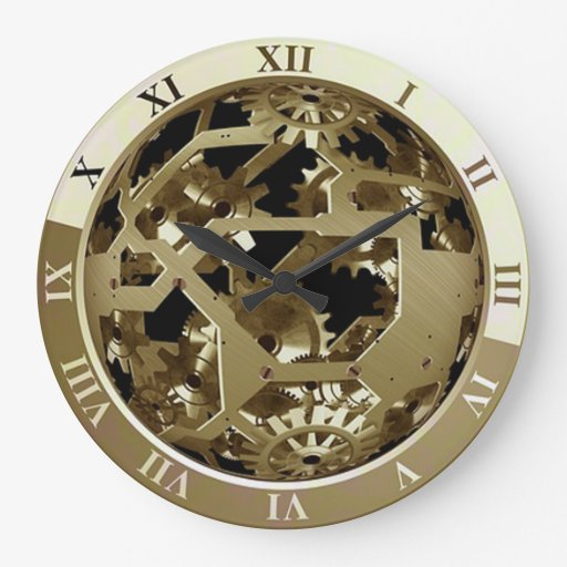 Steampunk Wall Clock Showing Gears And Mechanism Zazzle
