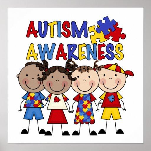 Stick Figure Kids Autism Awareness Posters   Zazzle