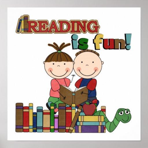 Stick Figure Kids Reading is Fun Poster   Zazzle