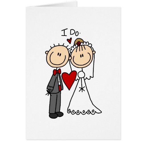 Stick Figures Wedding Note Card
