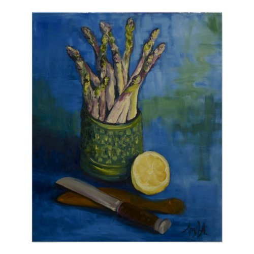 Still LIfe with Asparagus & Lemon print