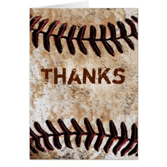 Stone Like Vintage Baseball Thank You Themed Cards