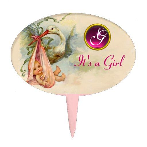 Stork Cake Topper Girl