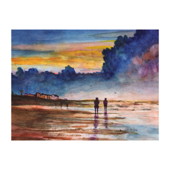 Stormy Sunset Beach Combing Watercolor Seascape Canvas Prints