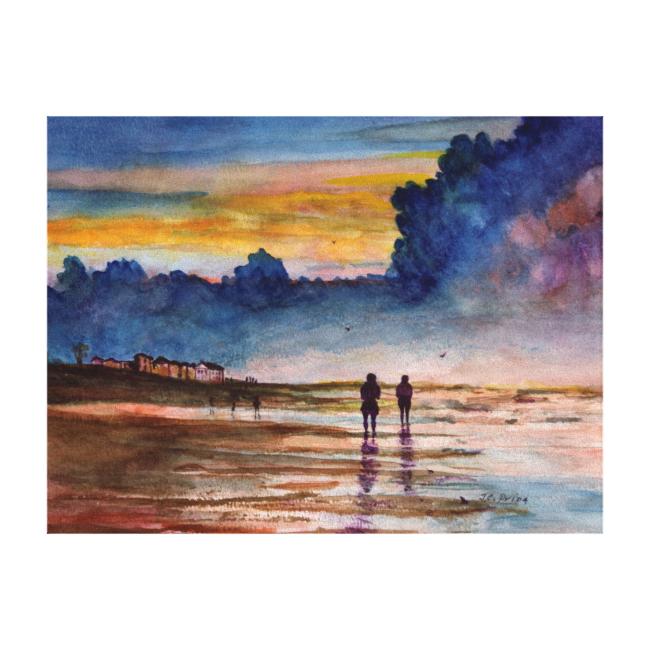 Stormy Sunset Beach Combing Watercolor Seascape Stretched Canvas Prints