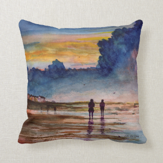 Stormy Sunset Beach Combing Watercolor Seascape Pillow