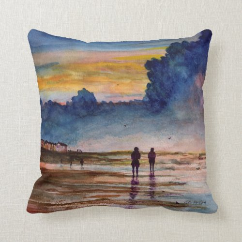 Stormy Sunset Beach Combing Watercolor Seascape Throw Pillows