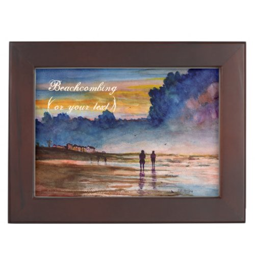 Stormy Sunset Beach Combing Watercolor Seascape Keepsake Boxes