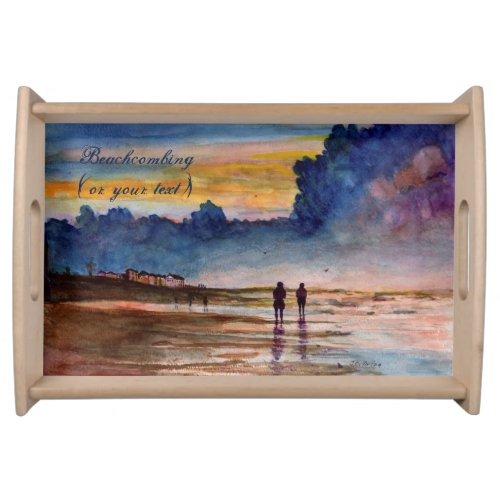 Stormy Sunset Beach Combing Watercolor Seascape Serving Platter