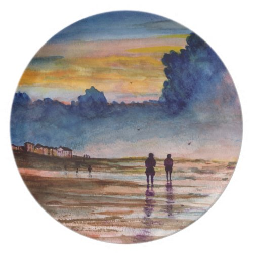 Stormy Sunset Beach Combing Watercolor Seascape Dinner Plate
