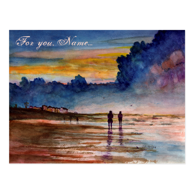 Stormy Sunset Beach Combing Watercolor Seascape Postcards