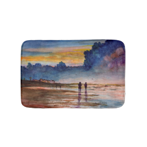 Stormy Sunset Beach Combing Watercolor Seascape Bath Mats
