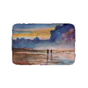 Stormy Sunset Beach Combing Watercolor Seascape Bath Mats