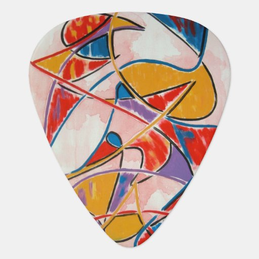 strange fish abstract art handpainted guitar pick zazzle. Black Bedroom Furniture Sets. Home Design Ideas
