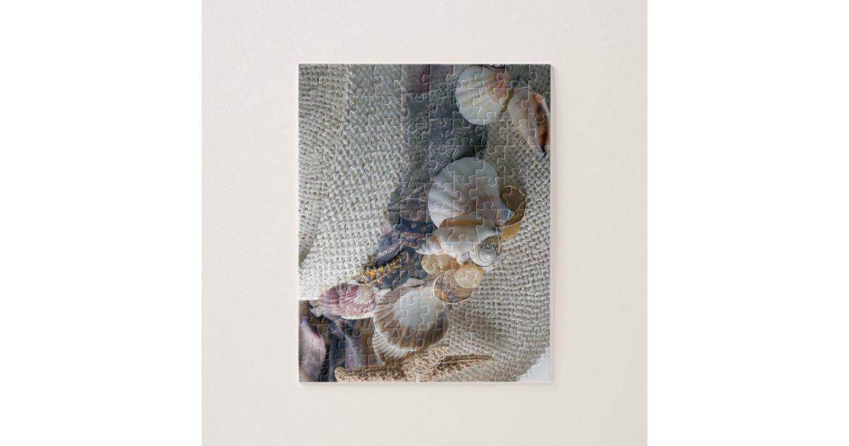 Straw Hat with Sea Shells Jigsaw Puzzle | Zazzle