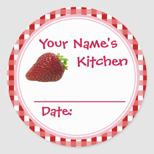 Strawberry Jam Canning Jar Lid Labels Personalized Classic