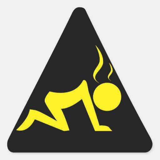 Stress Symbol (Yellow On Black) Triangle Stickers | Zazzle