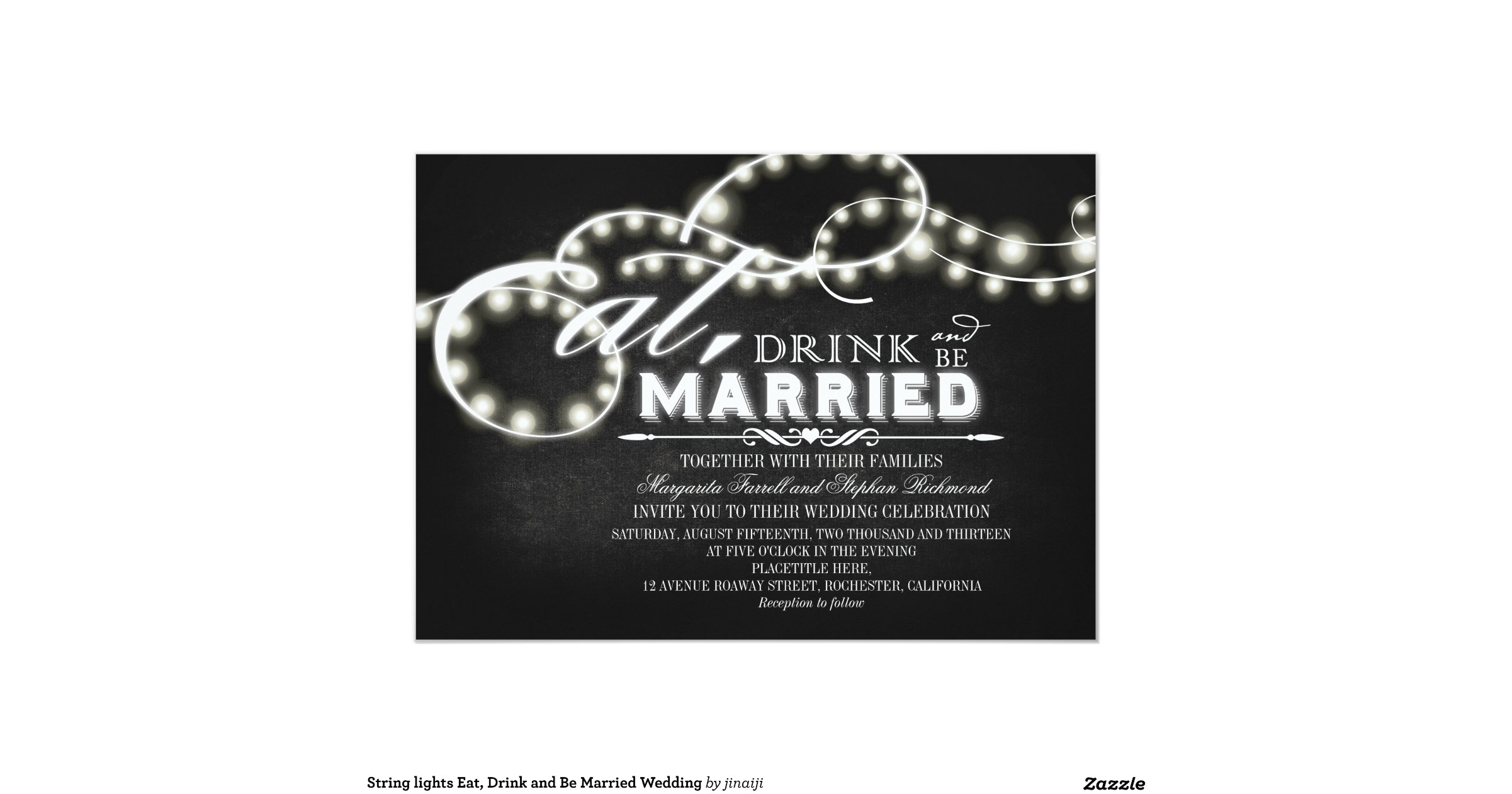 Wedding Invitations Eat Drink And Be Married: String_lights_eat_drink_and_be_married_wedding_invitation