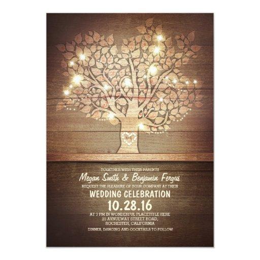 Wedding Invitation Tree: String Lights & Rustic Tree Wedding Invitations
