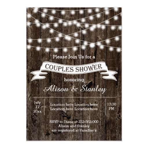 String Of Lights, Old Wood Wedding Couples Shower 5x7