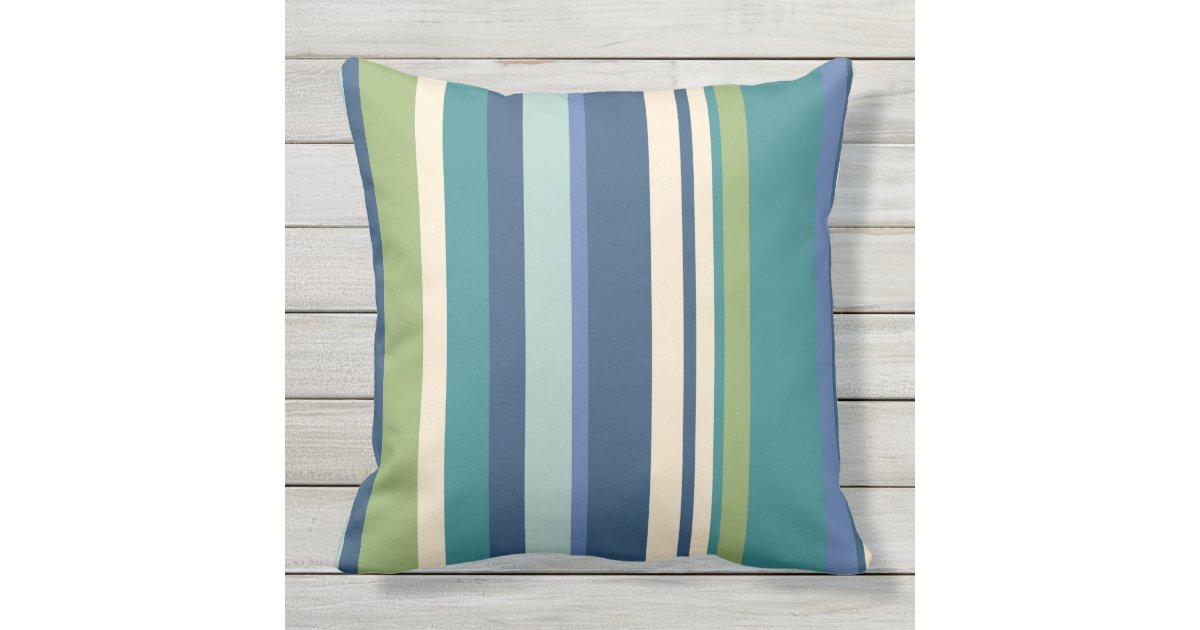 Stripes Blue Green Outdoor Patio Pillows Zazzle