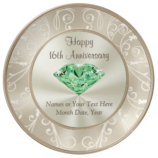 16th Wedding Anniversary Traditional Gift: Stunning Personalized 16th Anniversary Gifts Dinner Plate