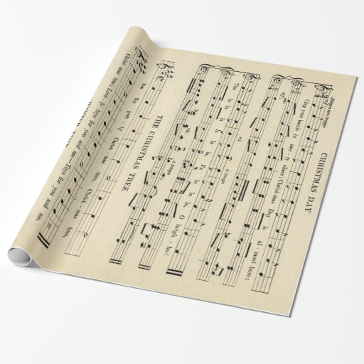 Stunning Unusual Vintage Christmas Music Sheet Wrapping