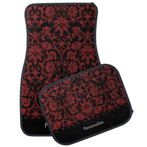 Stylish Damask In Maroon Red Car Floor Mat Zazzle