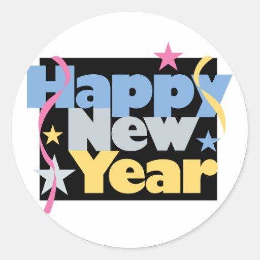 Stylish Happy New Year Classic Round Sticker | Zazzle
