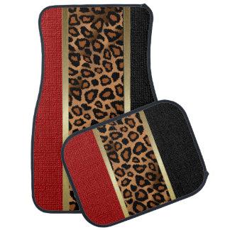 Stylish Leopard Animal Print Pattern Dark Red Floor Mat