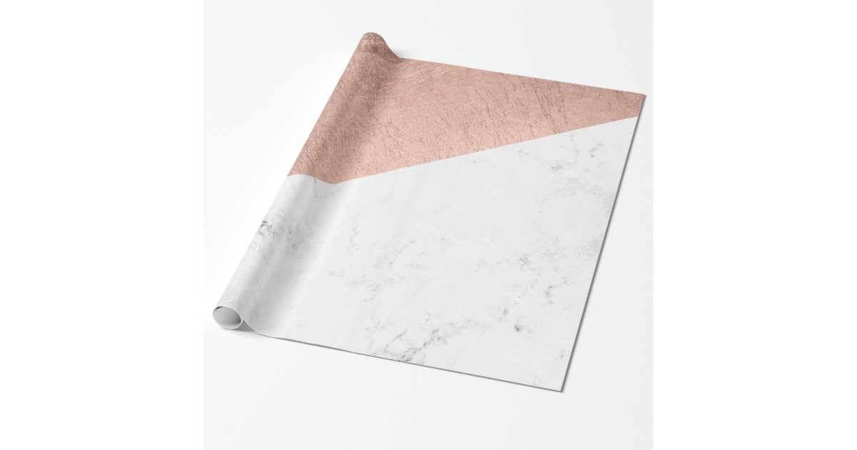 Stylish Modern Rose Gold White Marble Color Block Wrapping