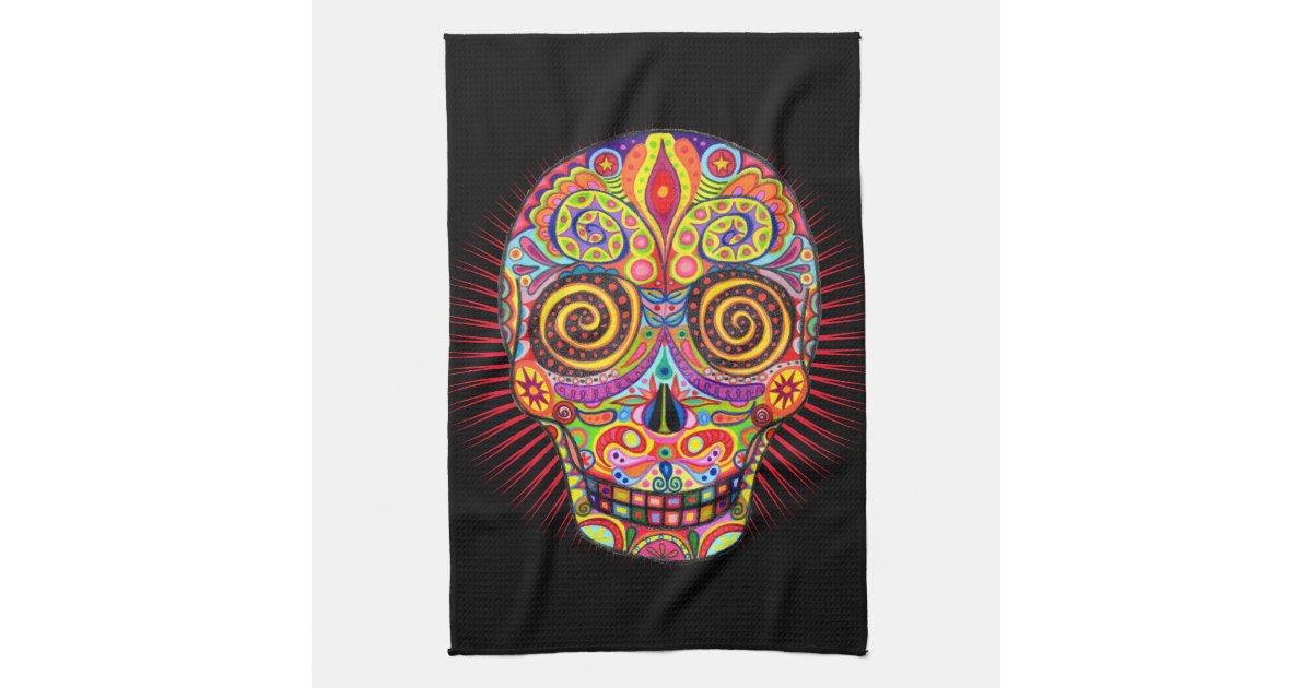 Sugar Skull Kitchen Towel - Day of the Dead | Zazzle