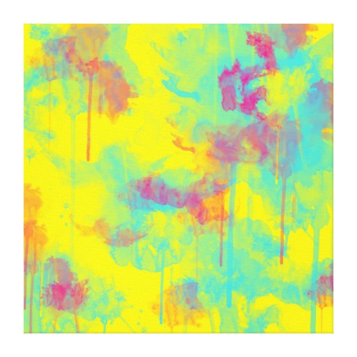 Big Canvas Art Modern Watercolor Abstract Ink Splash Big: Summer Abstract Watercolor Splatters Canvas Print