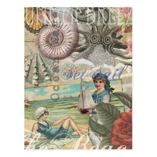 Summer beach vintage retro victorian postcard   Zazzle