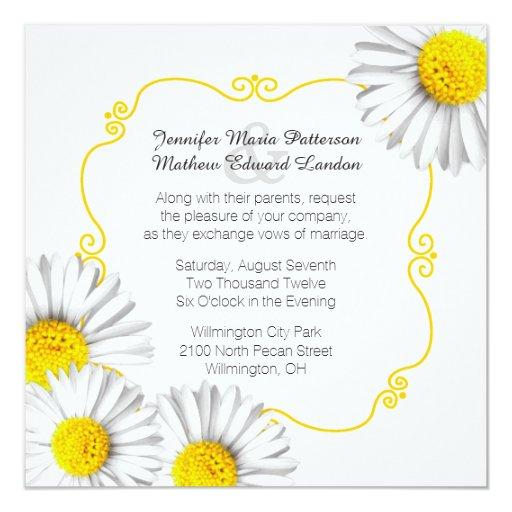 Summer White Daisies Wedding Invitation