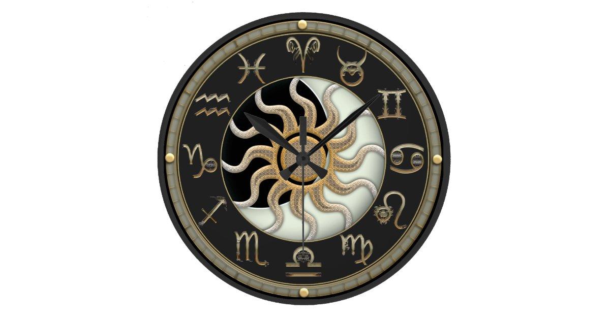 Sun And Moon Astrology Symbols Large Clock Zazzle