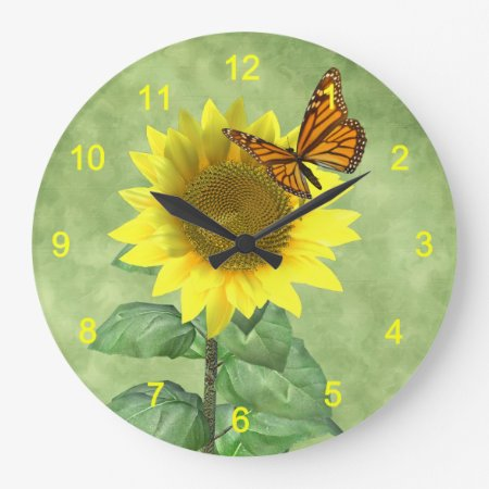 Sunflower and Butterfly Large Clock